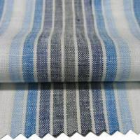 Quality 100% Linen Y/D Stripe Fabric with Normal Finish and Plain Texture for sale