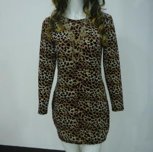 Quality Stretchy Leopard Print Club Dress , Long Sleeve Velvet Bodycon Dress V Back for sale