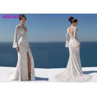 China Chantilly Lace And Tulle Fitted A Line Ball Gown Wedding Dress Split Long Sleeves on sale