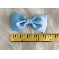 Quality Blue Fabric Polyester Grosgrain hair clip bow for girls headwear accessories for sale