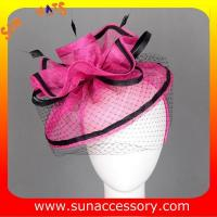 Quality 0918 hot sale  fashion sinamay fascinators hats and caps with veil ,Fancy Sinamay fascinator  from Sun Accessory for sale