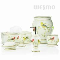 Quality Vivid Embossing Of Standing Birds On Branches Polyresin Bathroom Set (WBP0810A) for sale