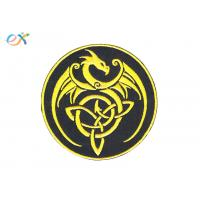 China Custom Made Black Gold Iron On Embroidered Patches With Merrowed Edge on sale