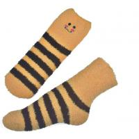 China Yellow Smile pattern mens aloe socks Polyester plush therapy 19x13x8.5 cm on sale