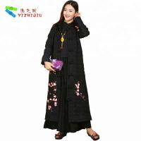 Quality Black Single Breasted Embroidered Winter Coats Chinese Embroidered Jacket for sale