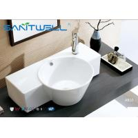 China Round Counter Top Wash Basin / Ceramic Vanity Bowl Bathroom Water Absorption on sale