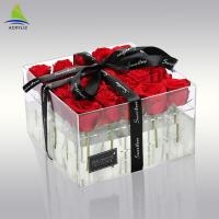 Quality Plexiglass Clear Acrylic Storage Box Acrylic Flower Custom Packaging Box For Preserved 25 Roses for sale