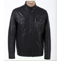 China Customized Black, Big and Tall Mens Designer Leather Jackets with High Quality Zippers on sale