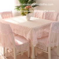 Quality Deluxe pink floral embroidered lace tablecloths and chair covers, lace table linens, for sale