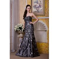 China Luxurious Silver Strapless Mermaid Taffeta Sweep Train Evening Party Gowns With Sequins on sale