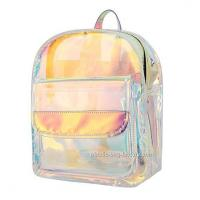 Quality Non - Toxic PVC Cosmetic Bag , Young Lady Shiny Hologram Transparent Shoulder Bag for sale