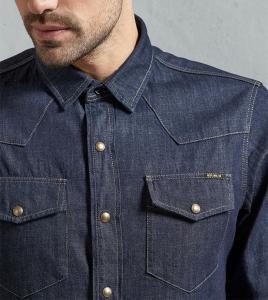 China High quality casual man blue jean shirts men collar stylish jean shirt fashion custom shirt for man on sale