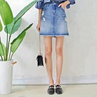 China Women A Line Denim Mini Skirt With Pearls , Summer Short Jean Skirt for Ladies on sale