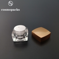 Quality 5g 10g 15g 30g Gold / Black Lids Clear Square Cream Jars Cosmetic Packaging for sale