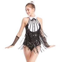 Buy cheap Black-White Stunning Tap Costume Sequined-Fringes Mock Neck Dance Dress from wholesalers
