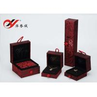 Elegant Square Jewelry Box Set , Red Cloth Material Bangle Jewelry Box With Button