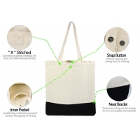 15oz Snap Button X Stitched Canvas Cotton Tote Bag