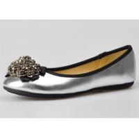 Quality Silver / Gold Color Womens Ballerina Flats With Bead Flower Upper for sale