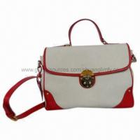 Buy cheap Fashionable Bag, Made from Genuine Leather and Canvas from wholesalers