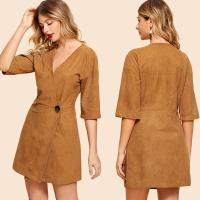 China Fashion Clothing For Women 2018 Suede Button Front Wrap Dress on sale