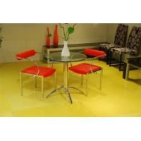 Quality chromed-plated/tempered glass dining table T023 for sale