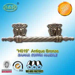 Buy cheap metal coffin bar H019  amak Metal Coffin Handles With Steel Bar 30 x 9.5 cm antique bronze color product