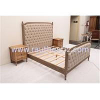 Quality Sturdy High Headboard King Size Upholstered Platform Bed , Custom Wood And Upholstered Beds for sale