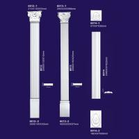 China Flower Design Concrete Polyurethane Columns , White Color Polyurethane Gypsum Pillar on sale