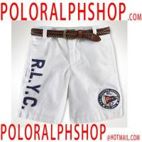 Buy polo shirt outlet Flat Front Shorts in White at wholesale prices