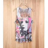 Quality girl brand excess apparel fashion stock lots exporter lace see-through sleeveless vest tee for sale