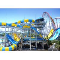 Quality Water Park Equipment Fiberglass Water Slide 9-18M Platform Height With Swimming Pool for sale