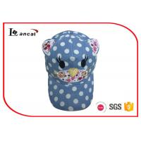 China Dot Yarn Dyed Embroidered Baseball Caps With Cat Design Applique on sale