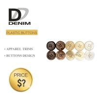 Plastic Shiny Pearl Denim Shirt Buttons White / Black Color With 4 Holes
