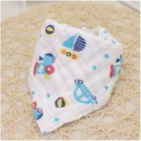 Quality Adjustable Infant Organic Muslin Baby Bibs Four Layers Printed Pattern for sale