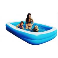 China Blue Square Inflatable Swimming Pools For 3 Person 0.3mm Thickness on sale