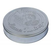 Quality Round Race Tuning Metal Tin Box Silver Plain With Embossed Lid for sale