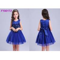 China Washable Navy Flower Girl Dresses , Floral Fluffy Little Girl Flower Girl Dresses on sale