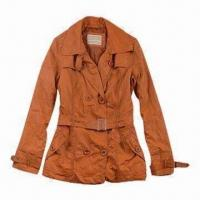 China Lady's Long Leather Jacket with Waistband on sale