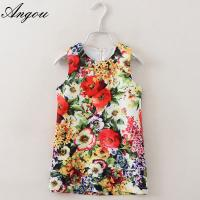 Angou Baby Girl Dress Floral Pattern A-Line Princess Dress Girls European Style Baby Dress