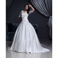 Luxurious Lace Long Sleeved V Neck chiffon Wedding gowns with long trains