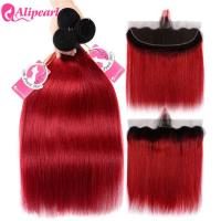 Quality Straight Ombre Hair Bundles With Closure 1B Red Color 100% Human Hair for sale