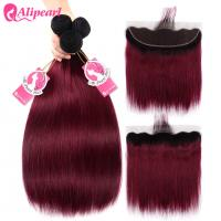 Quality 1B 99j Burgundy Ombre Human Hair Weave With Lace Frontal Silky Straight for sale