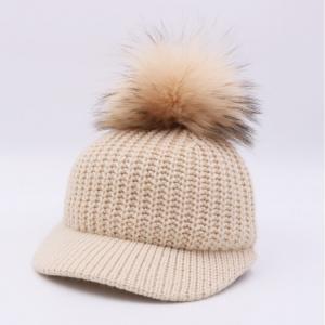 China Wool Top Winter Baseball Hats , Real Raccoon Fur Mens Pom Pom Beanie Hats on sale