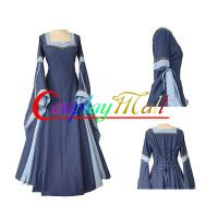 Quality Medieval Dress Wholesale XXS to XXXL Customize Light Blue Medieval And Renaissance Dress With Trumpet Sleeves For Gothic for sale