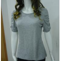 China Self Tape Grey Womens Casual Tops T Shirts , Fashion Smock T Shirt Tops on sale