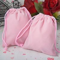 Quality Printed Pink Velvet Drawstring Bag , Fabric Drawstring Gift Bags for sale
