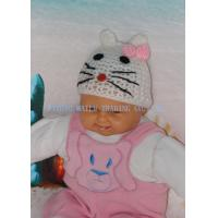 China Cute Hollow Out White Cat Easy Crochet Hat With Beautiful Pink Bowknot on sale