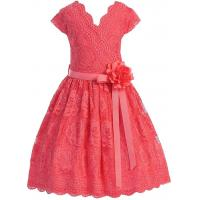 China Coral V Neck Cap Sleeves Little Girls Holiday Dresses , Kids Birthday Frocks Rose Lace Flower Belt on sale