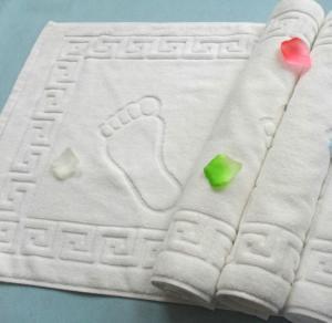 China terry cloth white cotton hotel bath floor mat, bath foot towel,50*80cm bathroom floor towel on sale