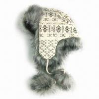 Quality Acrylic Knitted Jacquard Hat with Satin Lining and Fake Fur at Cuff for sale
